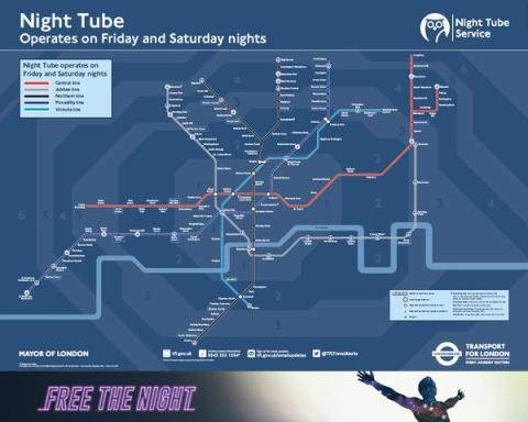 London Underground's new Night Tube map. Image: London Underground.