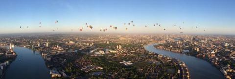 Air balloon regatta in aid of City of London Lord Mayor's appeal. Image: @NPASLondon