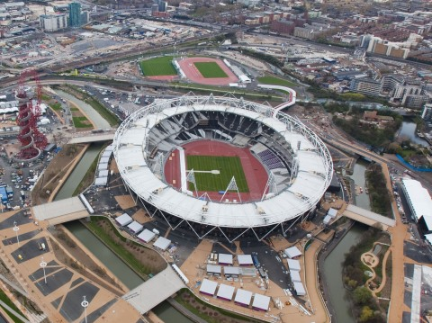 Aerial view of the Olympic Park looking south west towards London. Picture taken on 16 April 2012.