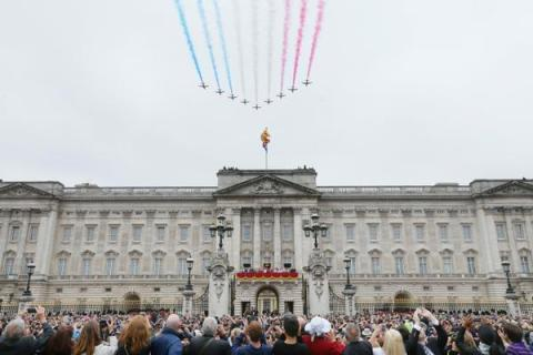 The Red Arrows close Trooping of the Colour and official Queen's Birthday celebrations. Image: @BritishMonarchy