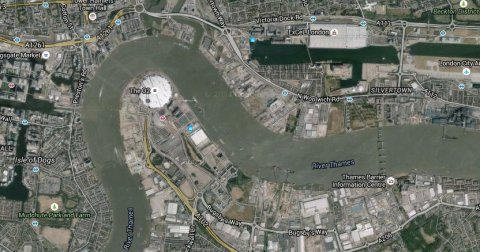 River Thames, North Woolwich. Image: Google Satellite.