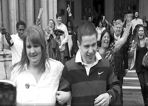 Sam Hallam leaving Royal Courts of Justice in 2012 with his mother after he was released. Image: http://www.samhallam.com/