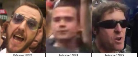 Images of three men Met Police wish to speak to in relation to May 27th St James's Square underground station incident. Image: Met Police