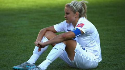 England captain Steph Houghton after losing 1-2 to Japan in World Cup semi-final. Image:@England