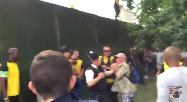 Lone police officer keeping a crowd of gatecrashers at bay at Wireless Festival. Image: screen grab for public interest reporting from https://www.youtube.com/watch?v=zEu_wGa_unY&feature=youtu.be
