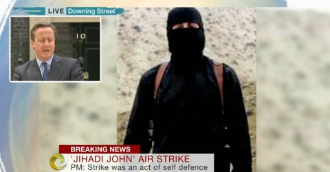 BBC news coverage of Prime Minister's statement on 'Jihadi John' outside 10 Downing Street. Image: BBC News screen grab
