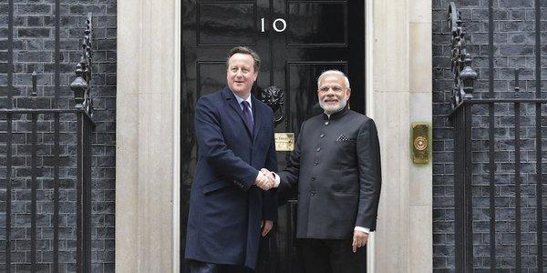 UK Prime Minister David Cameron and Indian Prime Minister Narendra Modi. Image: @Number10