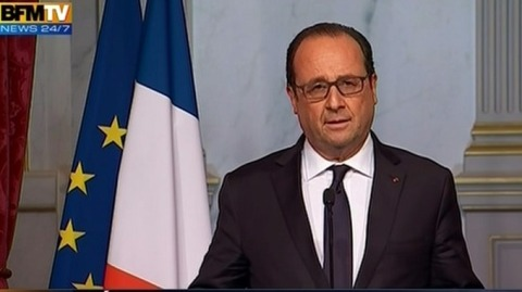 French President Francois Hollande says Paris attacks are an attack of War by Islamic State. Image: BFM Television screengrab for public interest reporting.