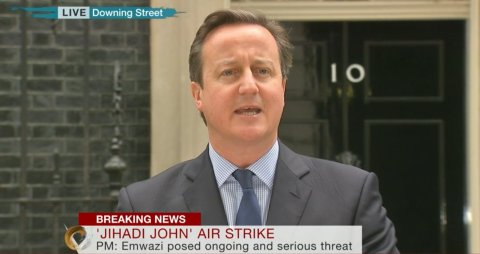 Prime Minister justifying drone attack on Mohammed Emwazi. Image: Live BBC Television News