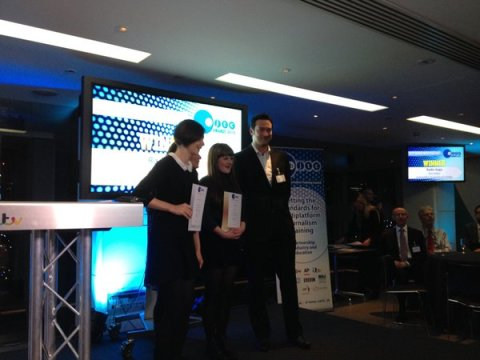 Goldsmiths Radio undergraduate Sera Baker (centre) receiving the BJTC award for Best Radio New Feature. MA Radio Distinction alumna Jacqueline Shoen (left) receiving short-listed award.