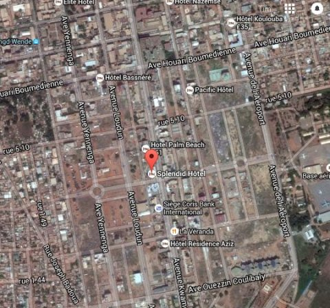 Location of Hotel Splendid in Ouagadougou, capital of Bakina Faso. Image: Google maps- satellite.