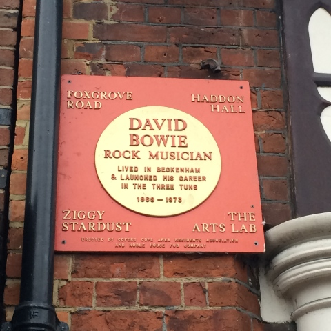Plaque to David Bowie at Beckenham High Street
