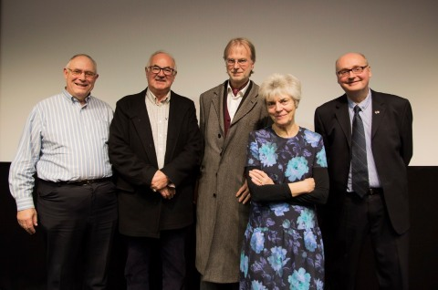 Left to Right: Quentin Kopp, Richard Blair, Professors Richard Keeble, Jean Seaton and Tim Crook. Image: Ashley Simpson