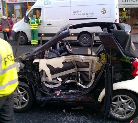 Wreckage of Smart Car in Enfield 'significant incident.' Image: @LAS_TacAdvisor
