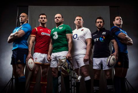 RBS Six Nations launch 2016, Sergio Parisse, Sam Warburton, Rory Best, Dylan Hartley, Greg Laidlaw and Guilhem Guirado (Image: rbssixnations.com)