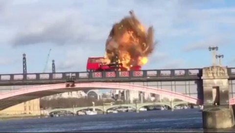 Exploding bus in 'Jackie Chan' filming on Lambeth Bridge. Image: Lambeth Bridge