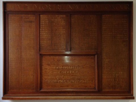 The memorial to staff and students at Goldsmiths who died during the Great War. Image: Anna Burns