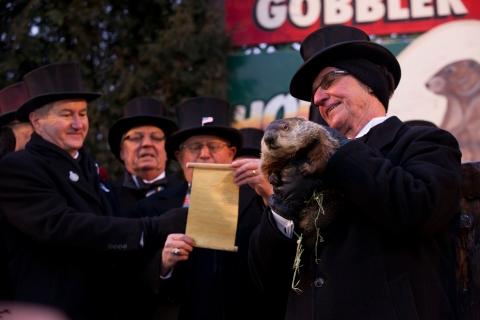 """Image: """"Groundhog Day, Punxsutawney, 2013-1"""" by Anthony Quintano - http://www.flickr.com/photos/quintanomedia/8437241711/. Licensed under CC BY 2.0 via Wikimedia Commons - https://commons.wikimedia.org/wiki/File:Groundhog_Day,_Punxsutawney,_2013-1.jpg#/media/File:Groundhog_Day,_Punxsutawney,_2013-1.jpg"""