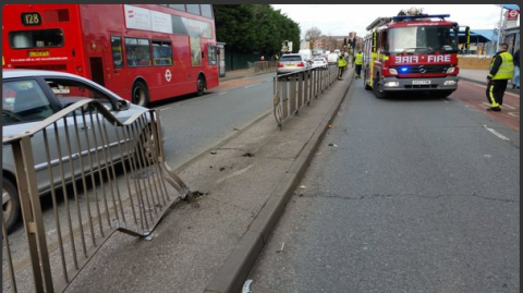 The scene of Romford collision Image: @londonfire