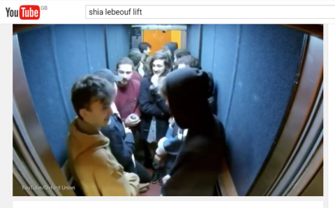 Shia lebeouf In Oxford Union Lift