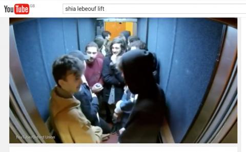 Shia lebeouf In Oxford Union Lift