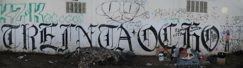 """Treinta Ocho"" (38th St. gang), writing in full-on texture font. Image: Steve Grody"