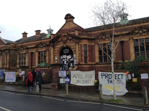 Protestors occupying library in Brixton