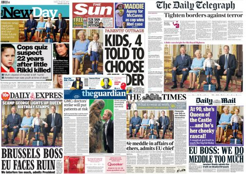 A selection of newspaper front pages from 20 April 2016