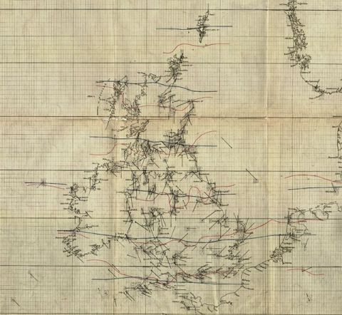 One of Fitzroy's original charts to show his understanding of the Royal Charter Gale (Image: Met Office)