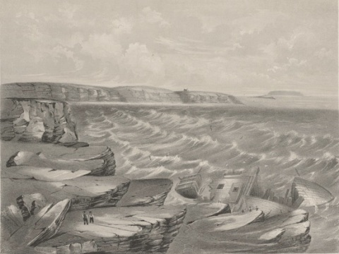 Scene of the shipwreck of the Royal Charter. Image: Engraving Public Domain. National Library of Wales.