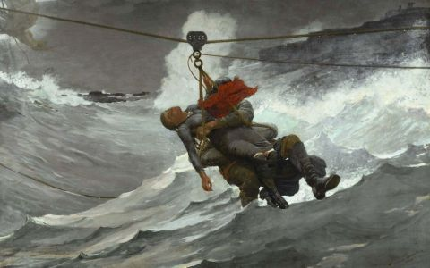 The Life Line by Winslow Homer, depiction of Bosun's Chair in action