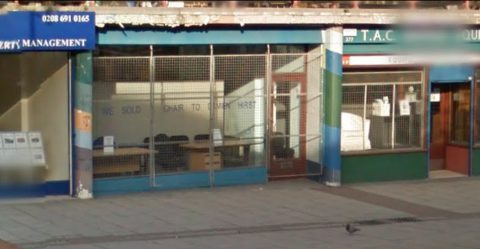 "TAC Office Equipment, on New Cross Road, displays a sign reading ""WE SOLD A CHAIR TO DAMIEN HIRST"". Image: Google"