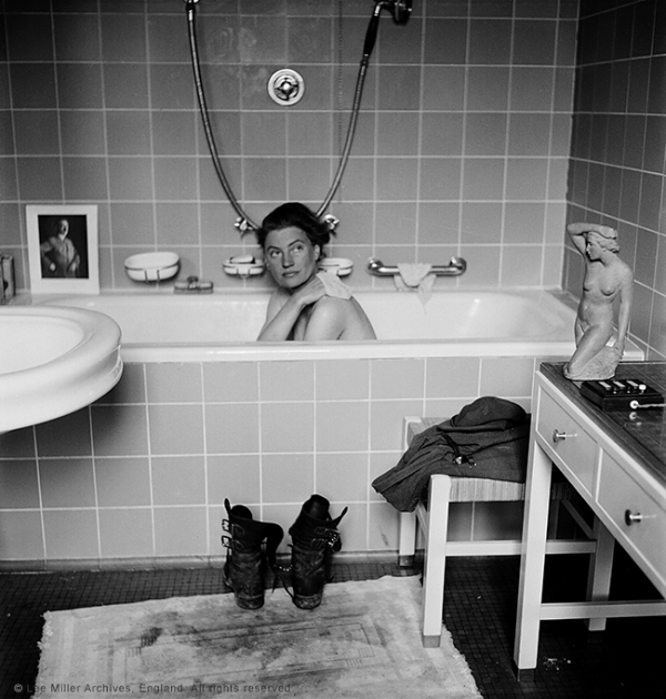 Lee Miller in Hitler's bath, Hitler's apartment, Munich. Lee Miller Archives