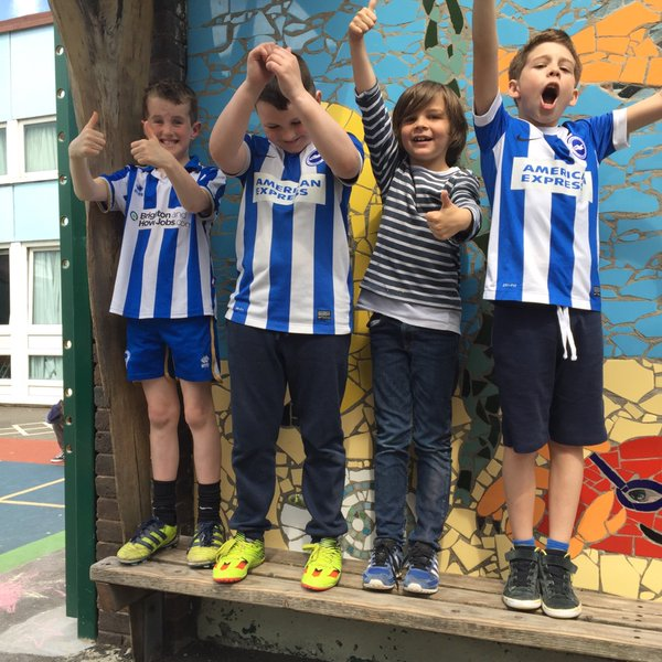 Children supporting Seagulls at Middle Street Primary School, Brighton. Image: Julie Aldous