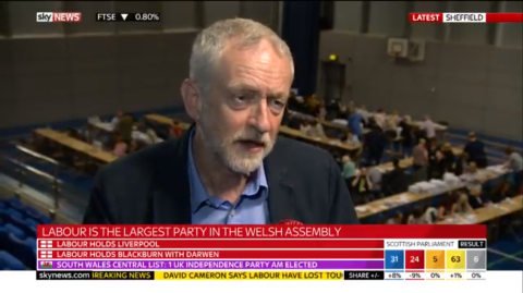 Jeremy Corbyn being asked if he should step down by Sky. Image: Sky News screen grab