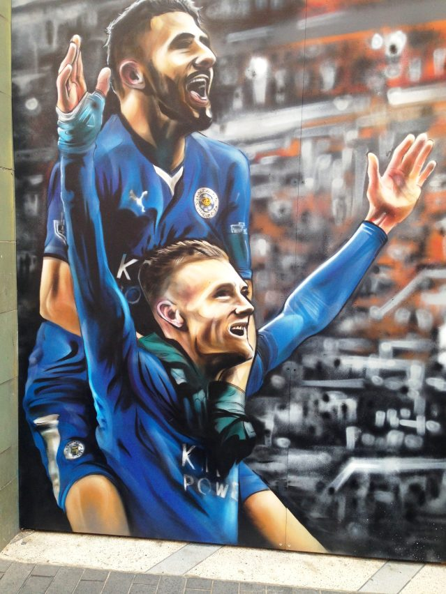 Street art of Jamie Vardy & Riyad Mahrez, Leicester city centre (Image: Emma Roberts)