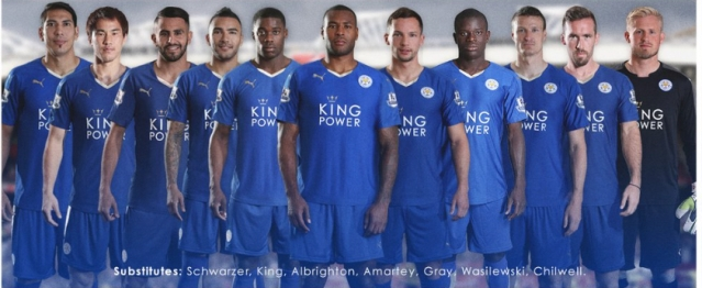 Leicester City line up at Old Trafford. Image:@LCFC