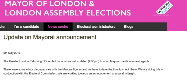 Statement explaining delay over declaration of London Mayoral election result. Image: Screengrab from London Elects web site.