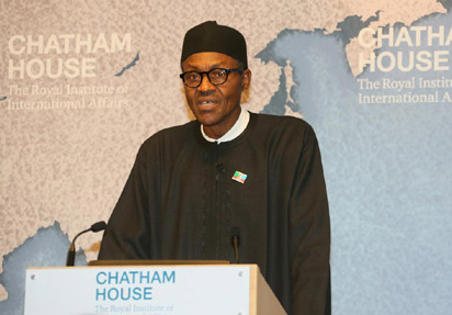 Muhammadu Buhari speaking at Chatham House, 26 February 2015. Image: Anieduugo - Own work. Wikimedia Commons