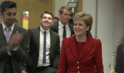 SNP Leader Nicola Sturgeon hailing 'historic third term victory' in Scottish Parliament election- though not clear if SNP will have overall majority. Image: Sky News screen grab.