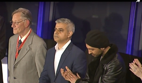 Sadiq Khan hears the declaration of his election as London Mayor at City Hall. Image: Screen grab of live Sky News coverage.