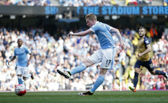 De Bruyne restores City's lead before Arsenal peg them back once more. Image: @premierleague Click through for the Premier League's Twitter account.