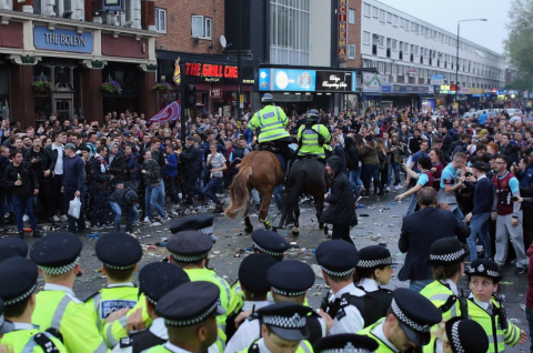 The scenes outside Upton Park were not pretty. Image: @talkSPORT, click through for Talksport's Twitter account.