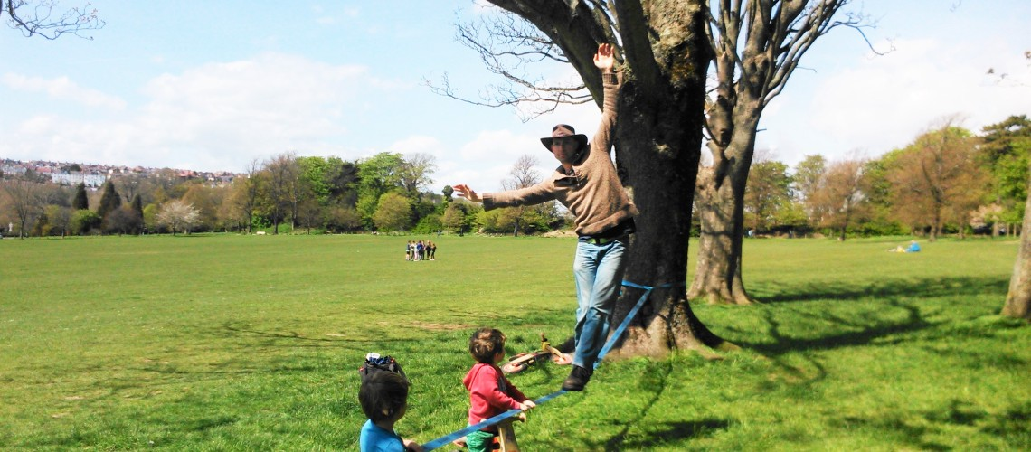 Father-of-two, Seth learning to walk a tight-rope. Image: Frances Ainley