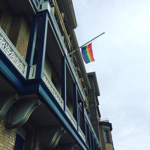 Brighton & Hove City Council pays respect to people of Orlando. Pride Flag at Half-mast. Image: @BrightonHoveCC