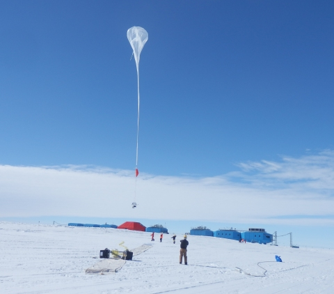 Liftoff! A balloon begins to rise over the brand new Halley VI Research Station, which had its grand opening in February 2013. Credit: NASA --- In Antarctica in January, 2013 – the summer at the South Pole – scientists launched 20 balloons up into the air to study an enduring mystery of space weather: when the giant radiation belts surrounding Earth lose material, where do the extra particles actually go? The mission is called BARREL (Balloon Array for Radiation belt Relativistic Electron Losses) and it is led by physicist Robyn Millan of Dartmouth College in Hanover, NH. Millan provided photographs from the team's time in Antarctica. The team launched a balloon every day or two into the circumpolar winds that circulate around the pole. Each balloon floated for anywhere from 3 to 40 days, measuring X-rays produced by fast-moving electrons high up in the atmosphere. BARREL works hand in hand with another NASA mission called the Van Allen Probes, which travels through the Van Allen radiation belts surrounding Earth. The belts wax and wane over time in response to incoming energy and material from the sun, sometimes intensifying the radiation through which satellites must travel. Scientists wish to understand this process better, and even provide forecasts of this space weather, in order to protect our spacecraft. As the Van Allen Probes were observing what was happening in the belts, BARREL tracked electrons that precipitated out of the belts and hurtled down Earth's magnetic field lines toward the poles. By comparing data, scientists will be able to track how what's happening in the belts correlates to the loss of particles – information that can help us understand this mysterious, dynamic region that can impact spacecraft. Having launched balloons in early 2013, the team is back at home building the next set of payloads. They will launch 20 more balloons in 2014. NASA image use policy. NASA Goddard Space Flight Center enables NASA's mission through four scientific e