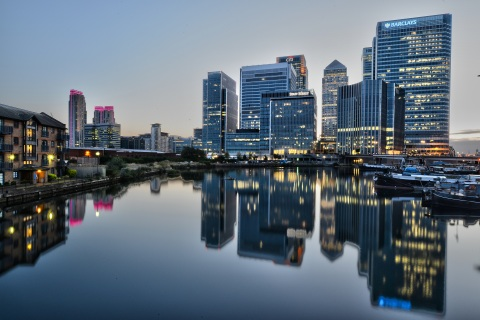 Canary Wharf after sunset. Image: Aleem Yousaf