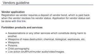 A section of the Dream Market vendor guideline, specifying forbidden products. Image: Arlie Adlington