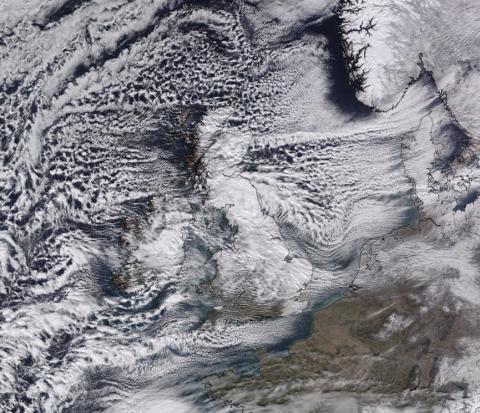 A satellite image on 28th February. Image: @UkSnowMap